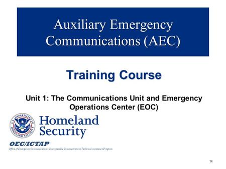 OEC/ICTAP Office of Emergency Communications / Interoperable Communications Technical Assistance Program Auxiliary Emergency Communications (AEC) Training.