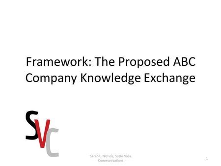 Framework: The Proposed ABC Company Knowledge Exchange 1 Sarah L. Nichols, Sotto Voce Communications.