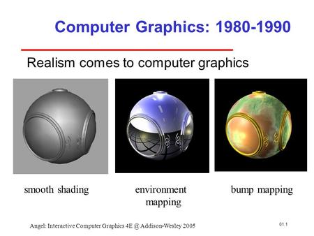 01.1 Angel: Interactive Computer Graphics Addison-Wesley 2005 Computer Graphics: 1980-1990 Realism comes to computer graphics smooth shadingenvironment.
