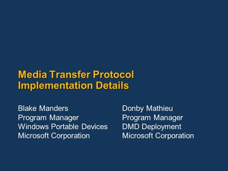 Media Transfer Protocol Implementation Details