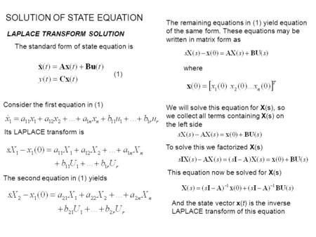 SOLUTION OF STATE EQUATION