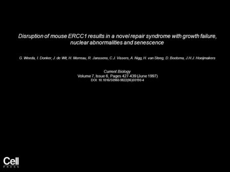 Disruption of mouse ERCC1 results in a novel repair syndrome with growth failure, nuclear abnormalities and senescence G. Weeda, I. Donker, J. de Wit,