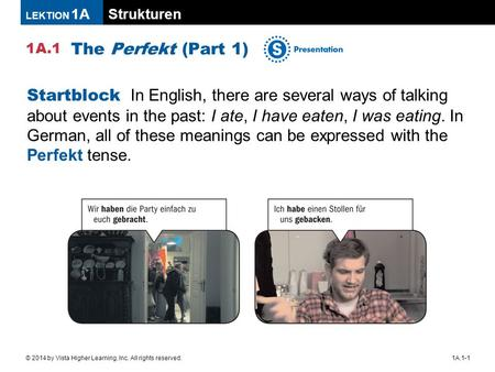 The Perfekt (Part 1) Startblock In English, there are several ways of talking about events in the past: I ate, I have eaten, I was eating. In German,