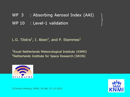 WP 3: Absorbing Aerosol Index (AAI) WP 10: Level-1 validation L.G. Tilstra 1, I. Aben 2, and P. Stammes 1 1 Royal Netherlands Meteorological Institute.