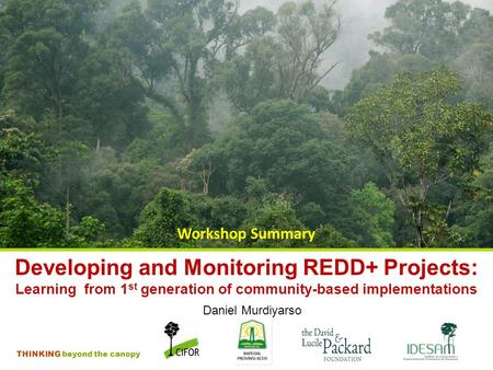 THINKING beyond the canopy Developing and Monitoring REDD+ Projects: Learning from 1 st generation of community-based implementations Workshop Summary.