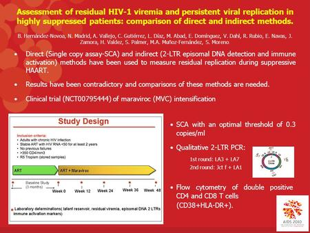 Assessment of residual HIV-1 viremia and persistent viral replication in highly suppressed patients: comparison of direct and indirect methods. B. Hernández-Novoa,