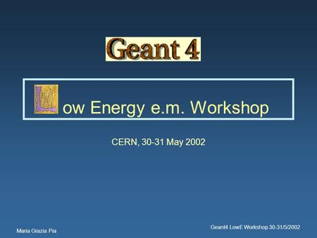 Maria Grazia Pia Geant4 LowE Workshop 30-31/5/2002 ow Energy e.m. Workshop CERN, 30-31 May 2002.