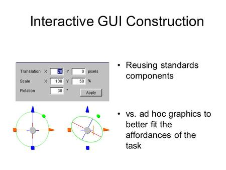 Interactive GUI Construction Reusing standards components vs. ad hoc graphics to better fit the affordances of the task.