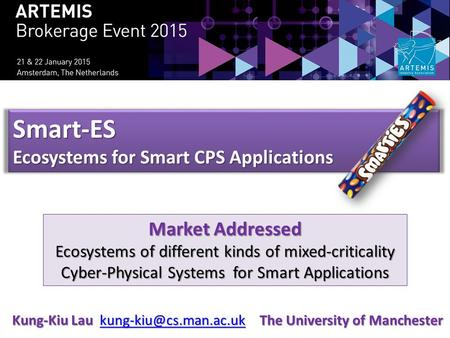 Smart-ES Ecosystems for Smart CPS Applications Market Addressed Ecosystems of different kinds of mixed-criticality Cyber-Physical Systems for Smart Applications.