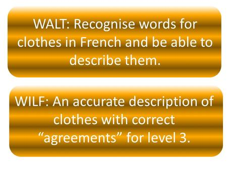 "WALT: Recognise words for clothes in French and be able to describe them. WILF: An accurate description of clothes with correct ""agreements"" for level."