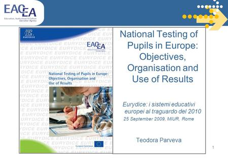 1 National Testing of Pupils in Europe: Objectives, Organisation and Use of Results Eurydice: i sistemi educativi europei al traguardo del 2010 25 September.