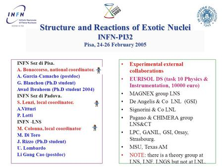 Structure and Reactions of Exotic Nuclei INFN-PI32 Pisa, 24-26 February 2005 INFN Sez di Pisa. A. Bonaccorso, national coordinator. A. Garcia-Camacho.