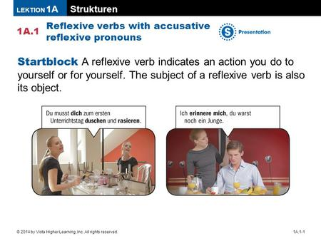 Strukturen 1A.1 LEKTION 1A 1A.1-1© 2014 by Vista Higher Learning, Inc. All rights reserved. Reflexive verbs with accusative reflexive pronouns Startblock.