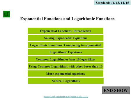 1 Exponential Functions and Logarithmic Functions Standards 11, 13, 14, 15 Using Common Logarithms with other bases than 10 More exponential equations.