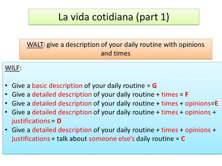 La vida cotidiana (part 1) WALT: give a description of your daily routine with opinions and times WILF: Give a basic description of your daily routine.