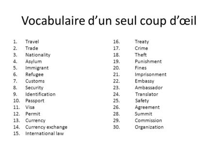 Vocabulaire d'un seul coup d'œil 1.Travel 2.Trade 3.Nationality 4.Asylum 5.Immigrant 6.Refugee 7.Customs 8.Security 9.Identification 10.Passport 11.Visa.
