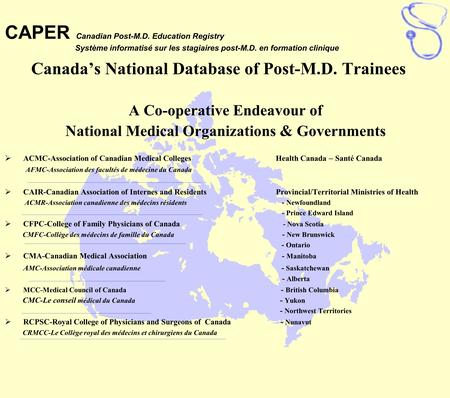 Canada's National Database of Post-M.D. Trainees A Co-operative Endeavour of National Medical Organizations & Governments  ACMC-Association of Canadian.