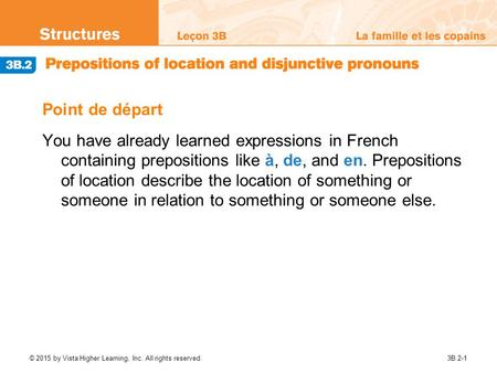 Point de départ You have already learned expressions in French containing prepositions like à, de, and en. Prepositions of location describe the location.