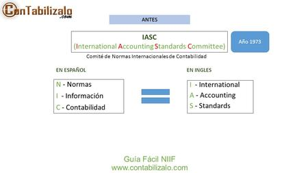 ANTES IASC (International Accounting Standards Committee) Año 1973