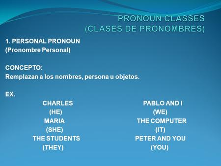 1. PERSONAL PRONOUN (Pronombre Personal) CONCEPTO: Remplazan a los nombres, persona u objetos. EX. CHARLES PABLO AND I (HE) (WE) MARIA THE COMPUTER (SHE)