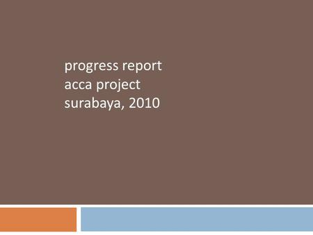 Progress report acca project surabaya, 2010. Community Upgrading Activities Physical/Environmental/Economic aspects:  development of area and community.