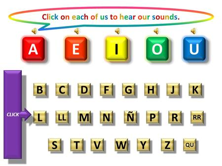 A A O O E E I I U U Click on each of us to hear our sounds.Click on each of us to hear our sounds. B B C C D D F F G G H H J J K K L L LL M M N N Ñ Ñ.