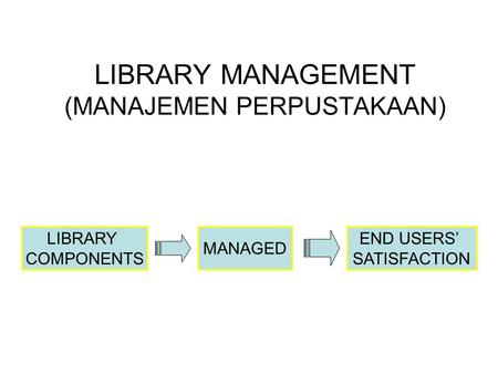 LIBRARY MANAGEMENT (MANAJEMEN PERPUSTAKAAN) LIBRARY COMPONENTS MANAGED END USERS' SATISFACTION.