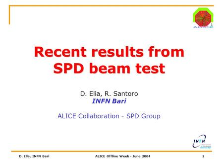 D. Elia, INFN BariALICE Offline Week - June 20041 Recent results from SPD beam test D. Elia, R. Santoro INFN Bari ALICE Collaboration - SPD Group.