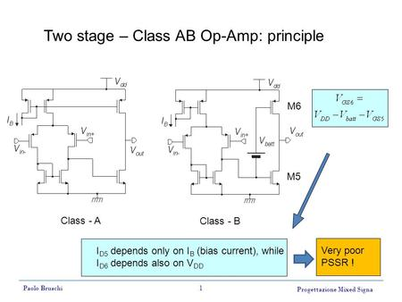 Progettazione Mixed Signa Paolo Bruschi1 Two stage – Class AB Op-Amp: principle Class - A Class - B M5 M6 I D5 depends only on I B (bias current), while.