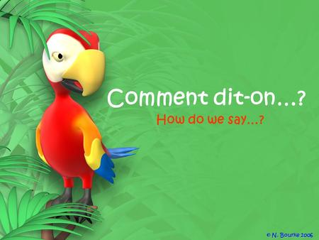 Comment dit-on…? How do we say…? © N. Bourke 2006.