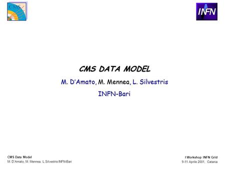 M. D'Amato, M. Mennea, L.Silvestris INFN-Bari CMS Data Model 9-11 Aprile 2001, Catania I Workshop INFN Grid CMS DATA MODEL M. D'Amato, M. Mennea, L. Silvestris.