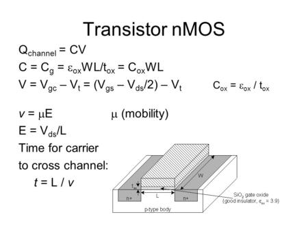 Transistor nMOS Q channel = CV C = C g =  ox WL/t ox = C ox WL V = V gc – V t = (V gs – V ds /2) – V t v =  E  (mobility) E = V ds /L Time for carrier.