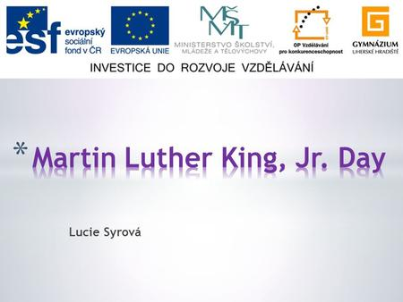 Lucie Syrová. * General facts * Martin Luther King, Jr. * Racial segregation * African – American Civil Rights Movement * Martin Luther King, Jr. Day.