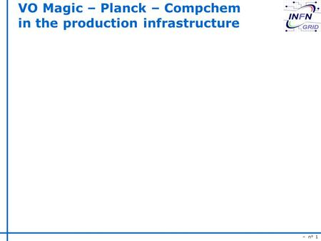 – n° 1 VO Magic – Planck – Compchem in the production infrastructure.