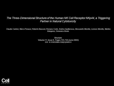 The Three-Dimensional Structure of the Human NK Cell Receptor NKp44, a Triggering Partner in Natural Cytotoxicity Claudia Cantoni, Marco Ponassi, Roberto.