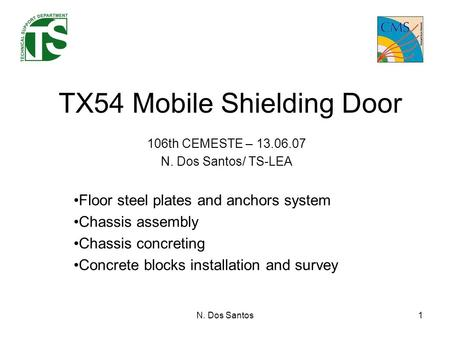 N. Dos Santos1 TX54 Mobile Shielding Door 106th CEMESTE – 13.06.07 N. Dos Santos/ TS-LEA Floor steel plates and anchors system Chassis assembly Chassis.