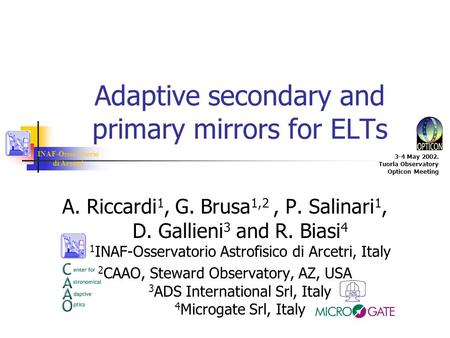INAF-Osservatorio di Arcetri 3-4 May 2002. Tuorla Observatory Opticon Meeting Adaptive secondary and primary mirrors for ELTs A. Riccardi 1, G. Brusa 1,2,