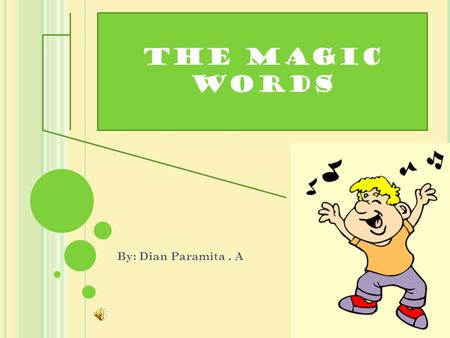 The magic words By: Dian Paramita. A OBJECTIVES Using the expression of politeness with the word please Students are able to use the expression of.