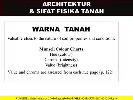ARCHITEKTUR & SIFAT FISIKA TANAH WARNA TANAH Valuable clues to the nature of soil properties and conditions. Munsell Colour Charts Hue (colour) Chroma.