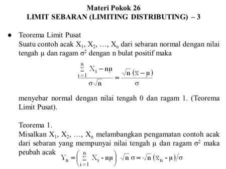 LIMIT SEBARAN (LIMITING DISTRIBUTING) – 3