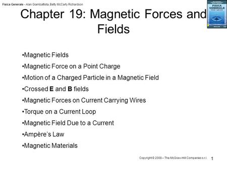 Fisica Generale - Alan Giambattista, Betty McCarty Richardson Copyright © 2008 – The McGraw-Hill Companies s.r.l. 1 Chapter 19: Magnetic Forces and Fields.