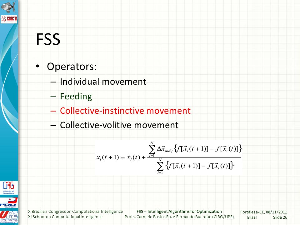 Fish Swimming – Collective instinctive X Brazilian Congress on Computational Intelligence XI School on Computational Intelligence FSS – Intelligent Algorithms for Optimization Profs.