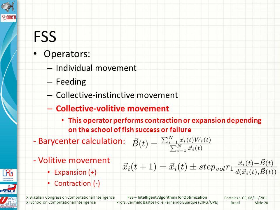Fish Swimming – Collective vollitive X Brazilian Congress on Computational Intelligence XI School on Computational Intelligence FSS – Intelligent Algorithms for Optimization Profs.