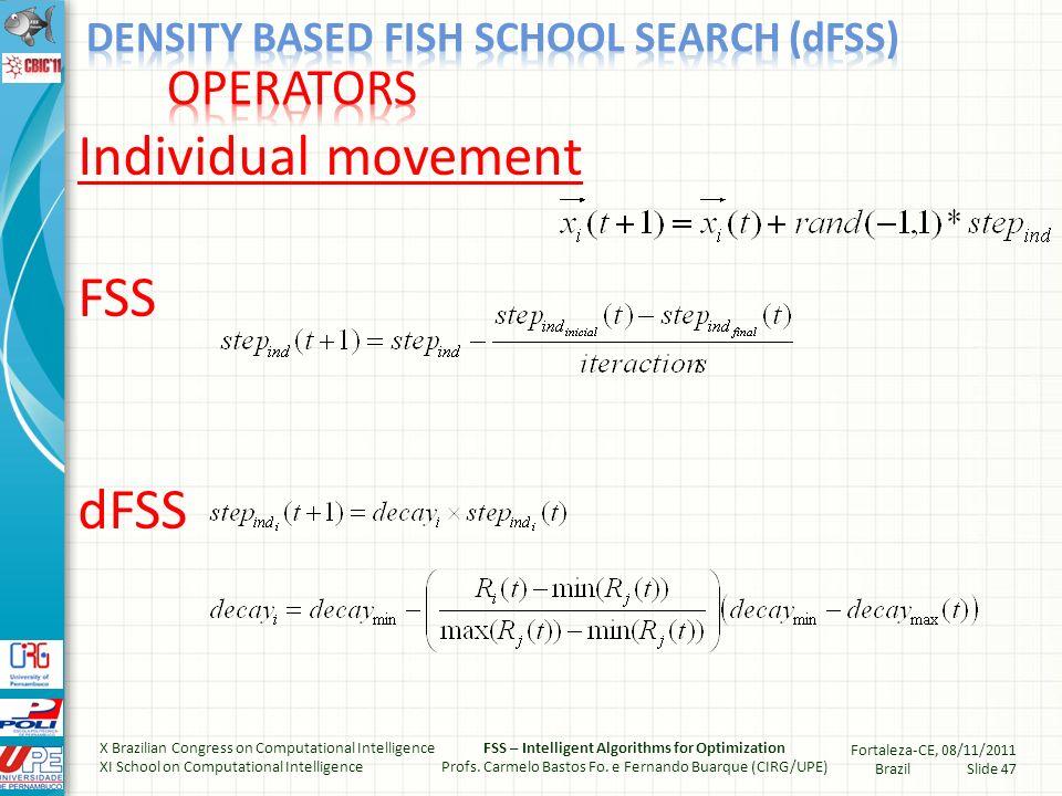 Feeding FSS dFSS X Brazilian Congress on Computational Intelligence XI School on Computational Intelligence FSS – Intelligent Algorithms for Optimization Profs.