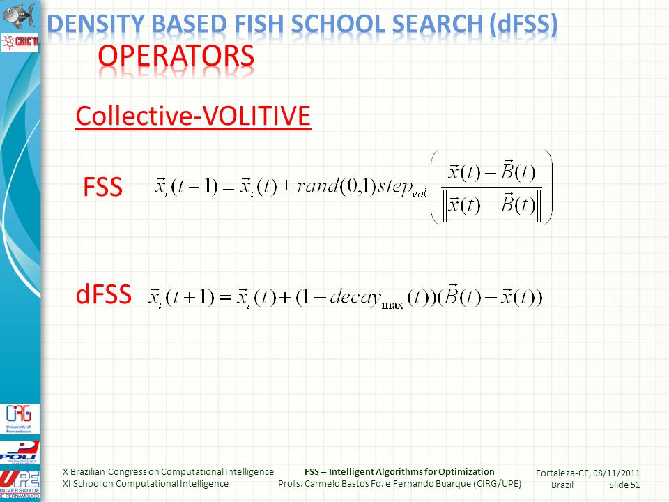 PARTITION (*NEW*) while There is fish in the main school do Choose a fish i randomly in the main school Create a new subgroup Si Put fish i in subgroup Si Remove fish i from the main school Find other fish j in the main school that satisfies (#) while there exists fish j in the main school do Put fish j in subgroup Si Remove fish j from the main school Set i = j Find other fish j in the main school that satisfies (#) end while X Brazilian Congress on Computational Intelligence XI School on Computational Intelligence FSS – Intelligent Algorithms for Optimization Profs.