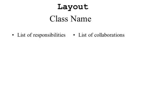 Class Name List of responsibilitiesList of collaborations Layout.