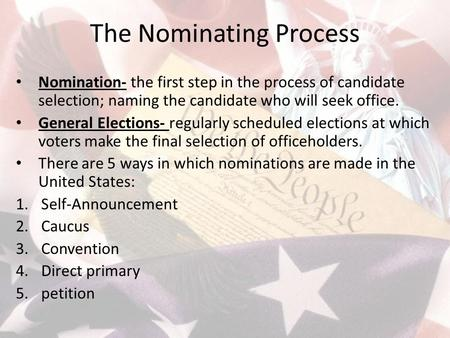 The Nominating Process