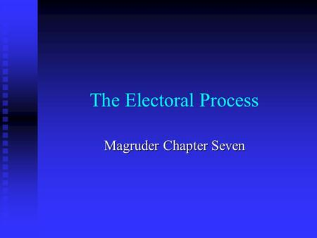 The Electoral Process Magruder Chapter Seven. The Nominating Process.