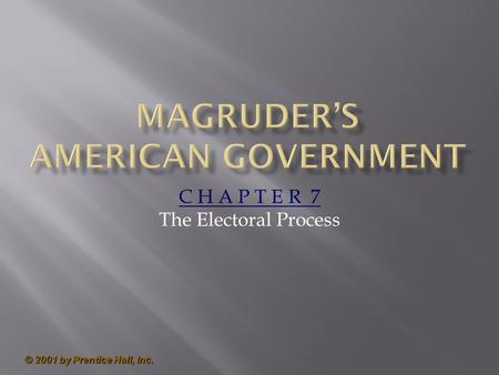 © 2001 by Prentice Hall, Inc. C H A P T E R 7 The Electoral Process.
