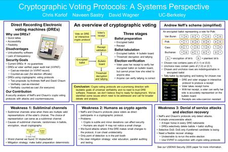 Cryptographic Voting Protocols: A Systems Perspective Chris Karlof Naveen Sastry David Wagner UC-Berkeley Direct Recording Electronic voting machines (DREs)